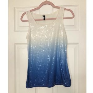 Maurices white blue ombré sequin tank top Small